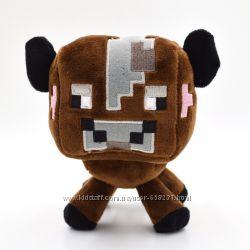 Мяка іграшка 18 см Коричнева Корова Майнкрафт minecraft Cow
