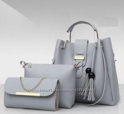 Набо женских сумок 3 в 1 шоппер, косметичка и клатч Viva