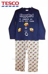 Пижама хлопковая Flappy Bird, синяя с серым, бренд Tesco F&F