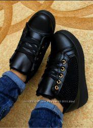 Зимние теплые ботинки БИРМА black, р. 36-41 СТРАЗЫ