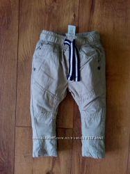 Котоновые штаны Next на подкладке 68см рост на 3-6 мес