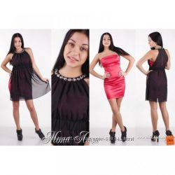 Нарядный комплект двойка платье и накидка  коралловый черный  размер 44-46