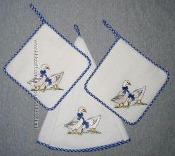 Льняной комплект для кухни с гусями Thun