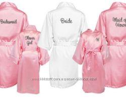 Халатики с именной вышивкой-невестам, на подарок, атлас, шелк, махровые