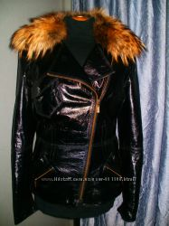 стильная куртка косуха. енот и лаковая кожа М-ка
