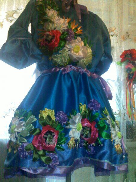 Вышивка платья из лент