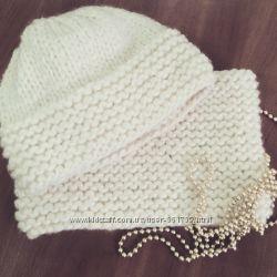 шапка и снуд из толстой пряжи