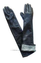 Длинные перчатки из кожи козленка на утеплителе