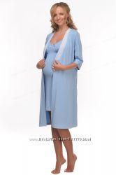 Комплект для беременных и кормящих мам Халат и  ночная рубашка.