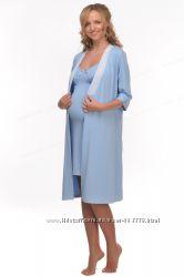 Комплект для беременных и кормящих мам Халат ночная рубашка.
