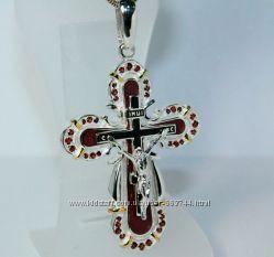 Крест серебро 925, гранаты природные, эмаль, позолота 24 кт