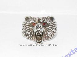 Кольцо Серебро 925 с натуральными гранатами голова Медведя