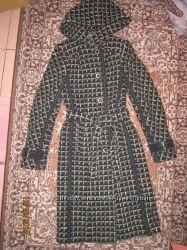 пальто в клеточку теплое