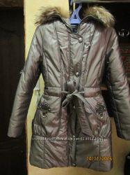 зимнее пальто цвета хаки, мех натуральный