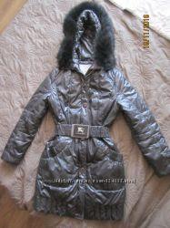 Зимнее пальто цвета мокрый асфальт на синтепоне