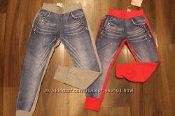 Спортивные комбинированные брюки для девочки.
