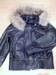 Кожаная натуральная куртка - с капюшоном