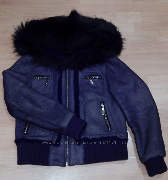 Скидка  Куртка-дубленка  натуральная автоледи, с капюшоном.