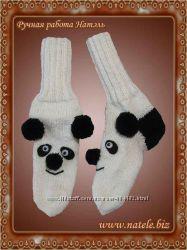Вязаные носки панда