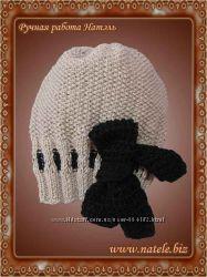 Вязаная шапка с бантом