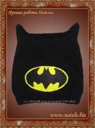 Черная вязаная шапка Бетмен
