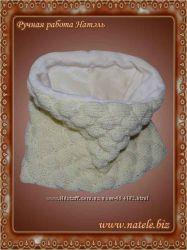 Вязаный шарф снуд бежевого цвета с подкладом из махры