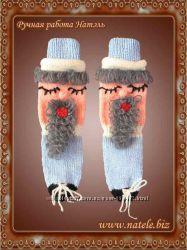 Носки новогодние голубые Socks-Christmas-blue-001