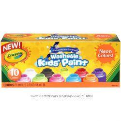 краски Crayola неоновые цвета набор 10 шт объем каждой банки 59 мл
