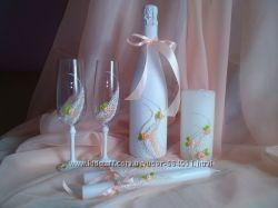 Свадебные бокалы, бутылки , свечи