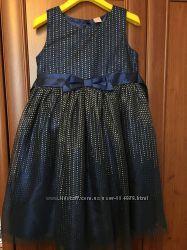 Невероятное синее нарядное платье 5-6 лет