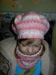 Вязанные шапочки, шарфы, комплекты деткам