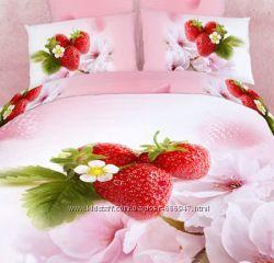 Комплект постельного белья сатин 3D Love You Семейный в ассортименте