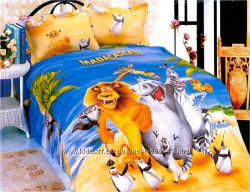 Комплект детского постельного белья Мадагаскар сатин полуторный 160х205
