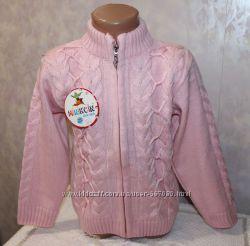 Теплая вязанная кофта для девочек. Размеры 7-8 лет