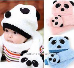 Зимняя шапка шарф в виде панды 4d0ee9d42d445