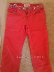 Продам красные тонкие брюки джинсы COOL CLUB бу р. 140.