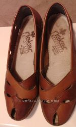 Кожаные летние туфли-балетки   RIEKER Antistress Размер 37, 5 - 38