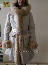 Итальянское пальто на натуральном меху, одето пару раз