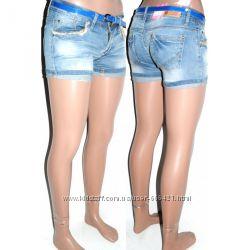 Шорты джинсовые рваные в голубом цветев комплекте с ремешком HONG GE BAO
