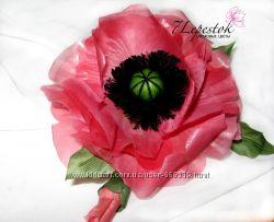 Брошь-цветок Мак Sunrise. Цветы из шелка