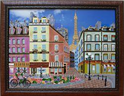 Продам картину Париж, 30х40, стекло, витражная роспись