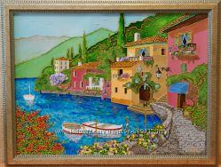 Продам картину Лазурный берег, 30х40, стекло, витражная роспись