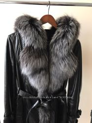 Шкіряне пальто з шикарної чорнобурки