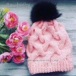 Теплая шапка на девочку, ручная работа