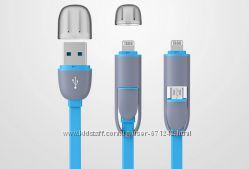 Качественный USB micro usb - apple lighting iphone 5, 6 ipad кабель 2 в 1
