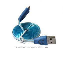 USB micro USB кабель светящийся со смайлом