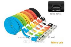Плоский USB - micro USB кабель лапша
