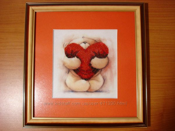 Готовая картина, вышитая бисером - Мишка Тедди