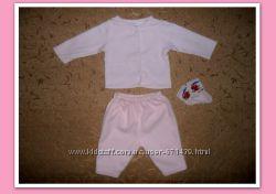 Теплый комплект костюм -кофта и штаны на малышку 0-3мес.
