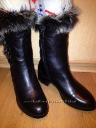Полусапожки Антонио Биаджи черная кожа, мех. 35 размер. Зима
